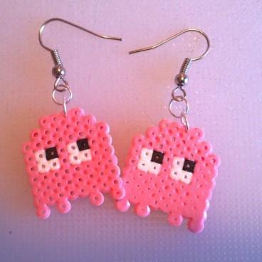 pendientes fantasmas rosa pacman pixel-art
