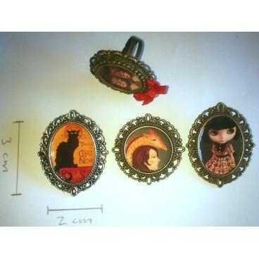 Amelie dibujo (broche camafeo ovalado)