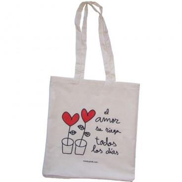 """Tote Bag """"El amor se riega..."""" corazón rojo"""