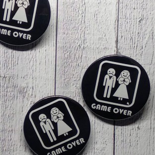 Chapas para bodas Game Over