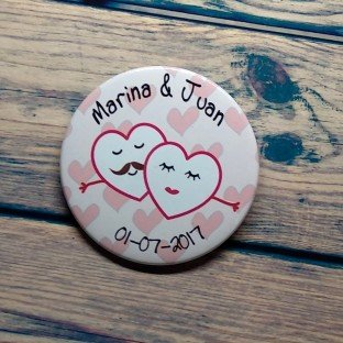 Chapas para bodas corazones